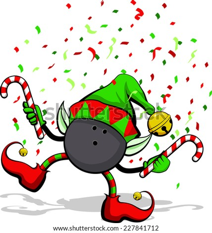 A bowling ball celebrating Christmas by dancing with candy canes, elf ears, hat and ears, and confetti. - stock vector
