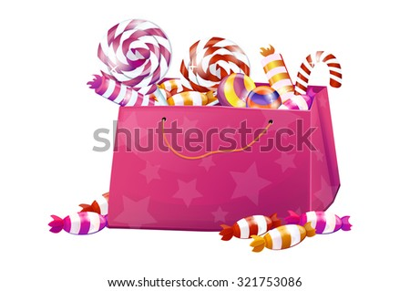 A box of sweets, candy, lollipops, candy, chocolate. Big set, pink, bright, brilliant. Without the background, on a white background. - stock vector
