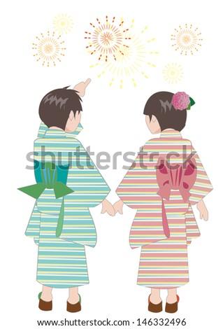 a boy and a girl. Kimono. fireworks. - stock vector