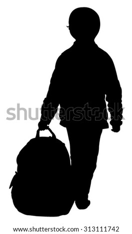 a boy and his bag - stock vector