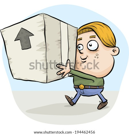 A boy carrying a big, cardboard box.