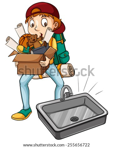A boy carrying a box near the sink on a white background - stock vector