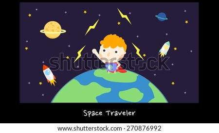 A boy cartoon character travel in space. Illustration of outer space, planets, stars, rockets, thunder lighting strikes, and the Earth. Template for elementary school science educational use. - stock vector