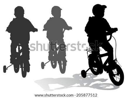 A boy rides a bike ride on the new - stock vector