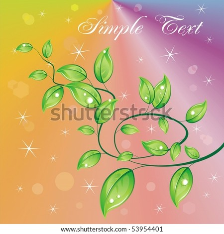 A branch in a rainbow background. Vector abstract background - stock vector