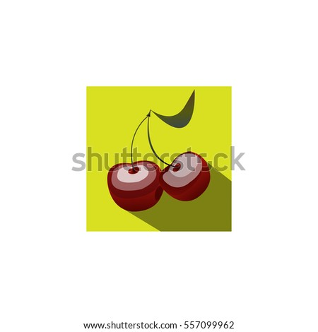 A branch of cherry in vector on green background.