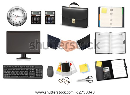 A briefcase, clock, calculators, notebooks and some office and business supplies. Vector. - stock vector