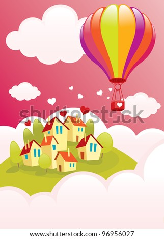 A bright balloon flying over the city vector illustration