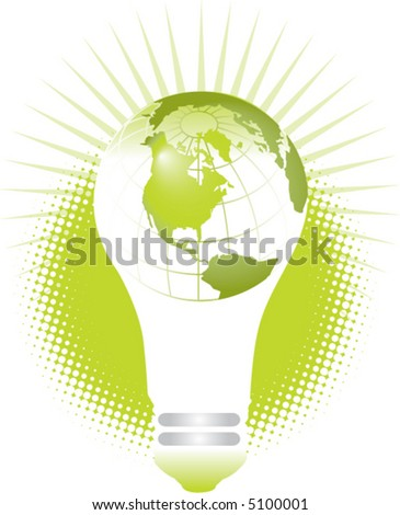 A bright idea light bulb has the planet earth superimposed on it creating a globe effect