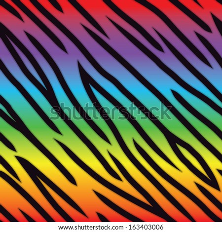 A bright multicolored tiger stripe background. Seamlessly Repeatable. Eps 10 Vector. - stock vector