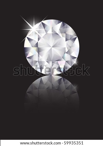 A brilliant cut diamond isolated on black with reflection. Space for text. EPS10 vector format - stock vector