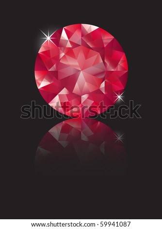 A brilliant cut ruby isolated on black with reflection. Space for text. EPS10 vector format - stock vector