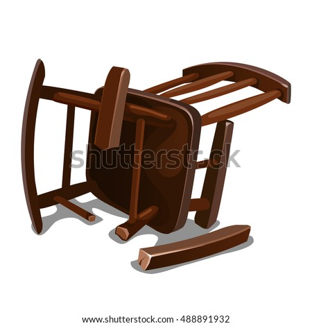 A Broken Old Wooden Chair Isolated On White Background Vector Illustration