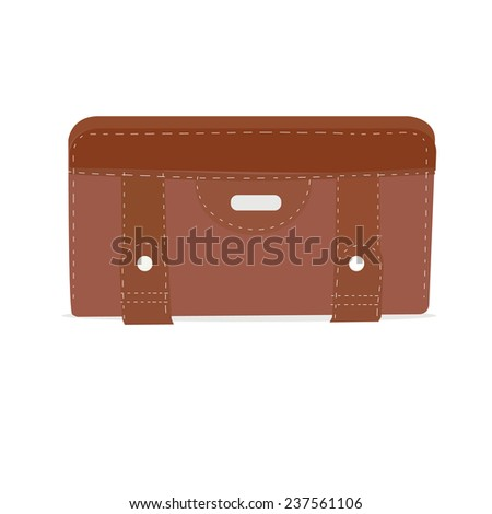 A brown leather wallet isolated on white background.