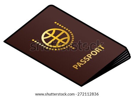 A brown passport with gold lettering and crest. - stock vector