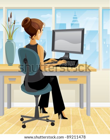 A brunette woman works at a desk. - stock vector