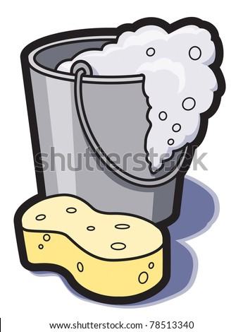 A bucket of soapy water and a sponge for cleaning. - stock vector