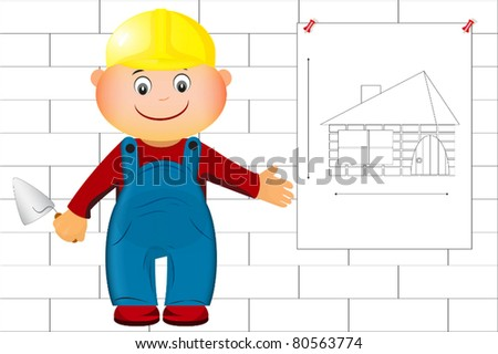 a builder shows a drawing at home