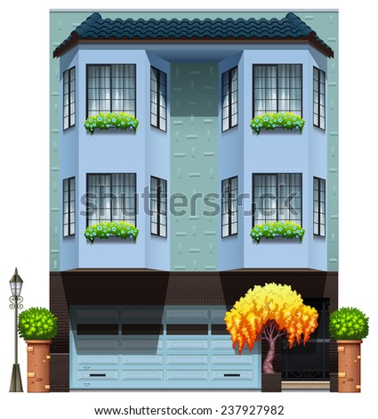 A building with decorative plants on a white background - stock vector