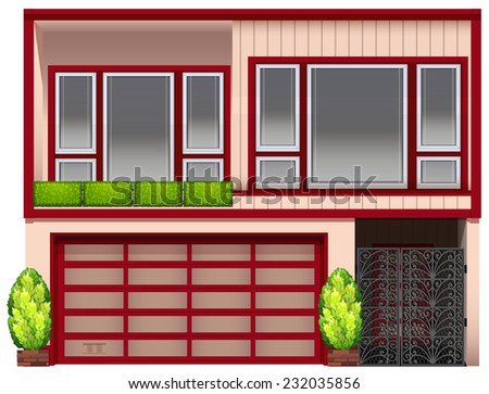 A building with red frames on a white background  - stock vector