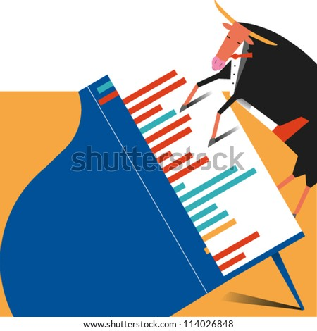 A bull dressed in a tuxedo plays a piano in an illustration of the stock market