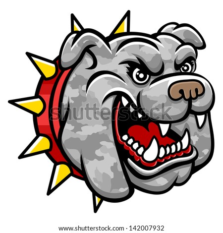A Bulldog head. Perfect for paintball mascot in a military style. This is vector illustration ideal for a mascot and tattoo or T-shirt graphic. - stock vector