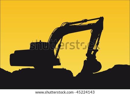 a bulldozer on a sunset - stock vector