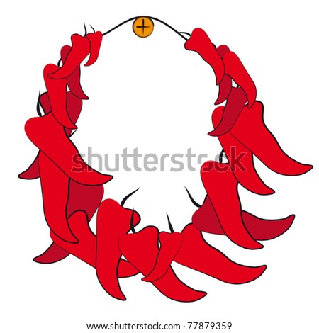 A bunch of chilli, which hangs on a nail. - stock vector