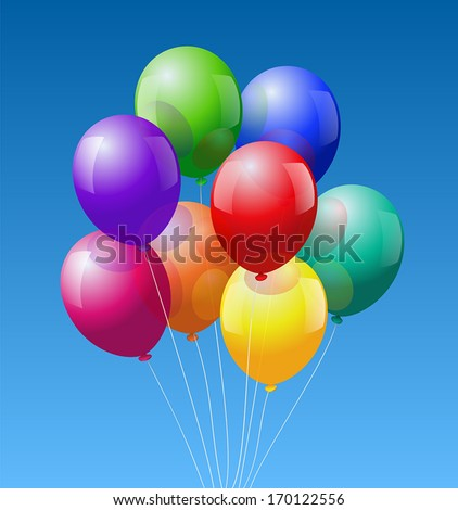 A bunch of eight colorful realistic looking balloons - vector on blue sky background. - stock vector