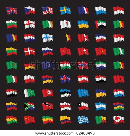 a bunch of world flags - stock vector