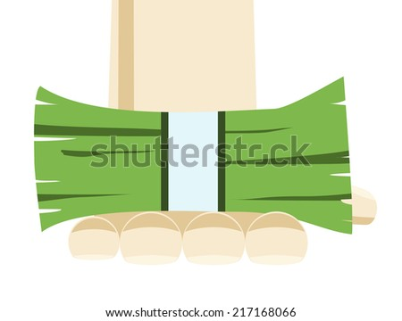 A bundle of money in hand on white background - stock vector