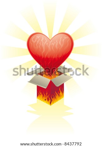 a burning heart came out from a burning box