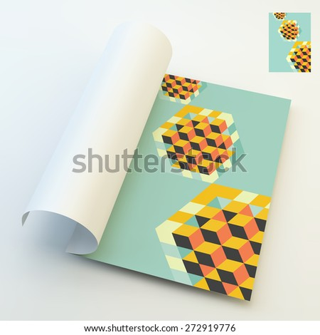 A4 business blank. Hexagon shape with cubes inscribed. 3d vector illustration. Can be used for business concepts. Template for design layout. - stock vector