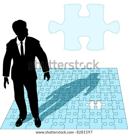 A business man in a suit works the last missing piece of a jigsaw puzzle solution, as copyspace. - stock vector