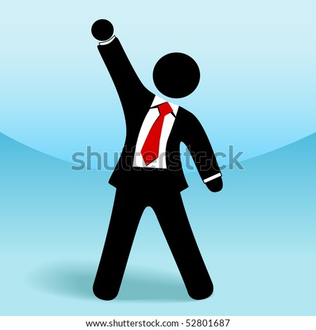 A business man stick figure raises his arm fist up in gesture of success. - stock vector