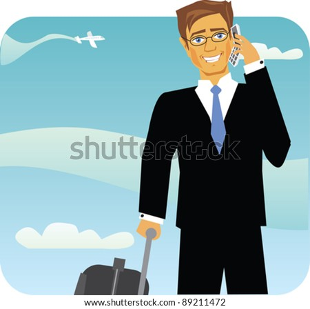 A business man traveling in an airport. - stock vector