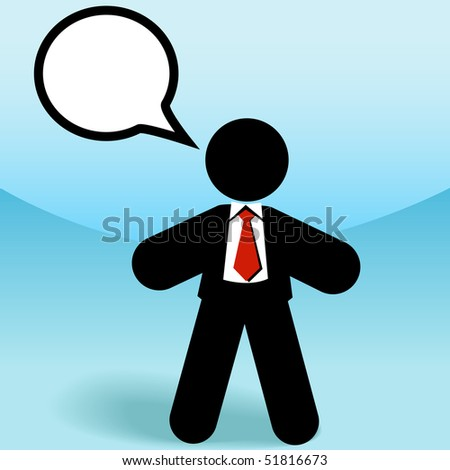 A business sales man stick figure talks in a speech bubble. - stock vector