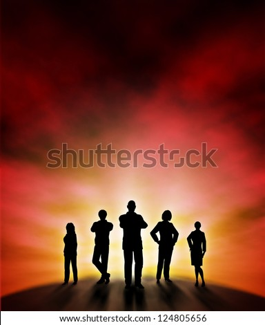 A business team silhouette standing at a new dawn with background made using a gradient mesh