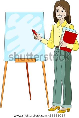 A business woman going to write with a marker on a flip chart - stock vector