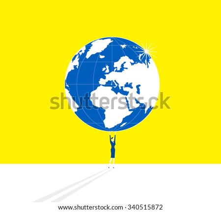 A business woman is standing and holding up whole Earth. - stock vector