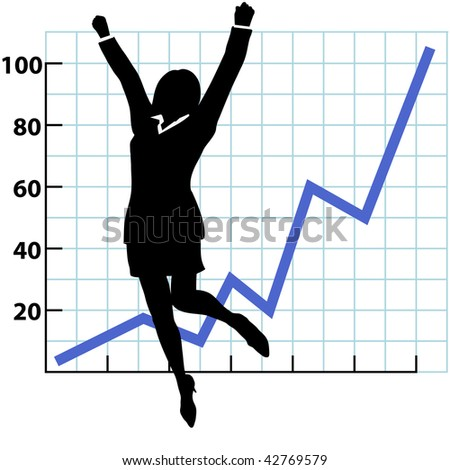 A business woman silhouette jumps and raises her fists in celebration of success on a chart of growth or profit. - stock vector
