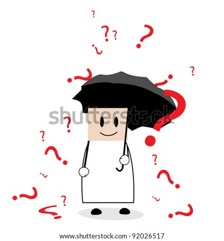 a businessman bombarded with many questions - stock vector