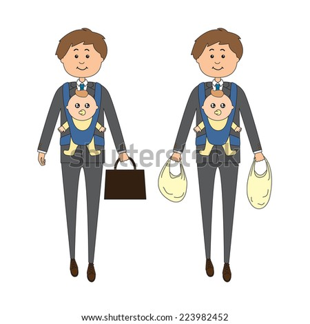 A businessman carrying a baby on his way back from work/grocery shopping, vector illustration - stock vector