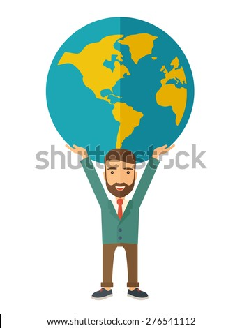 A businessman carrying big globe it is a symbol that he is number one in the world in business society. A Contemporary style. Vector flat design illustration isolated white background. Vertical layout - stock vector