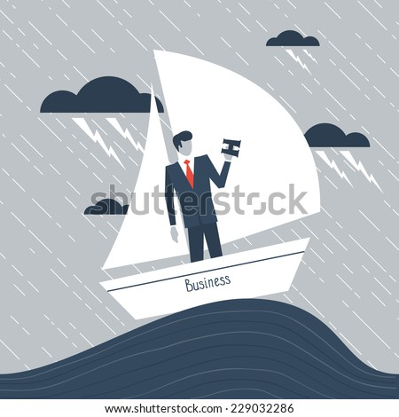 A businessman having hardship metaphor - stock vector