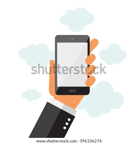 A businessman holding a phone. Isolated screen. Illustration in vectors.