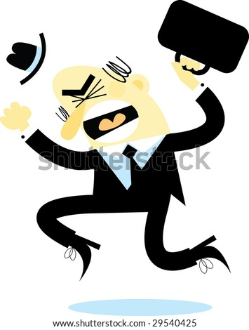 A  businessman jumping up and down with anger.