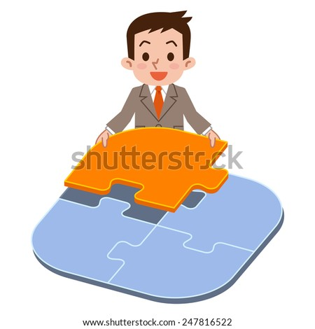 A businessman making a puzzle. - stock vector