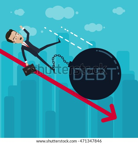 A businessman or manager falls to the foot chained heavy ball, debt, Vector illustration in flat, cartoon style isolated from the background, EPS 10