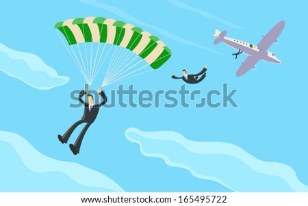 A businessman skydiving from a plane and opening his parachute - stock vector
